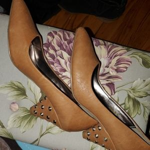 Tan Studded Pumps